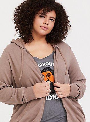 Plus Size Dark Taupe Fleece Zip Hoodie, TOFFEE BROWN, hi-res