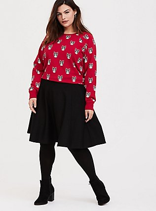 Plus Size Red Fleece Frenchie Holiday Sweatshirt, DOG-RED, alternate