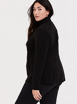 Plus Size Black Polar Fleece Active Jacket, DEEP BLACK, alternate