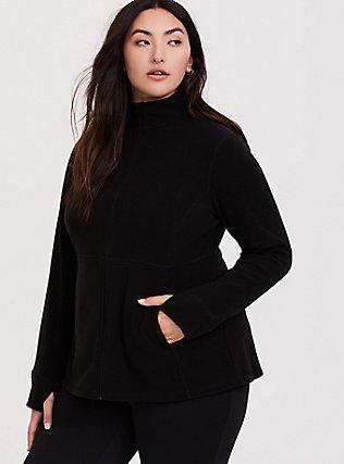 Black Polar Fleece Active Jacket, DEEP BLACK, alternate