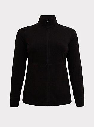 Plus Size Black Polar Fleece Active Jacket, DEEP BLACK, flat