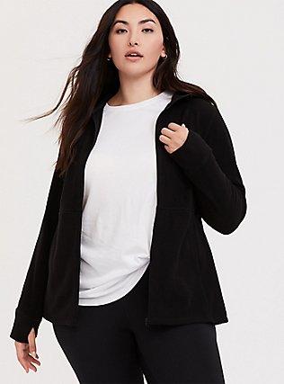 Black Polar Fleece Active Jacket, DEEP BLACK, hi-res
