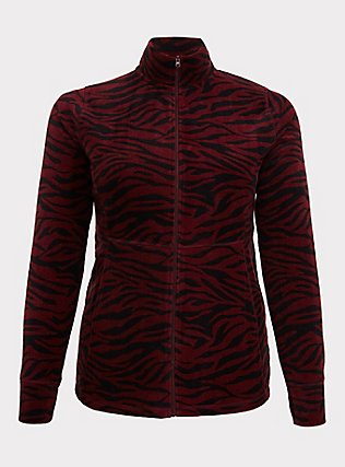 Burgundy Red Zebra Polar Fleece Active Jacket, MULTI, flat