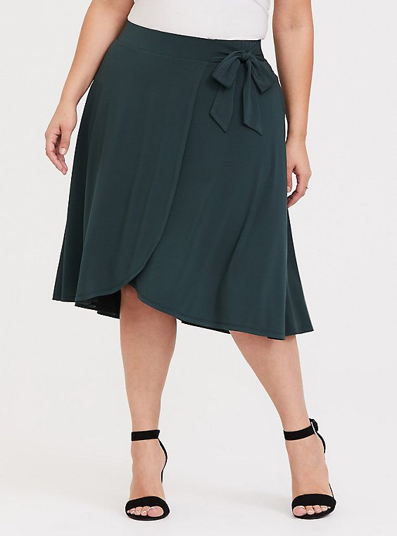 Dark Green Studio Knit Wrap Skirt, , hi-res