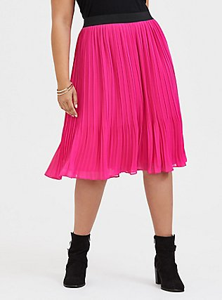 Plus Size Neon Pink Chiffon Pleated Midi Skirt, SUPERSONIC, hi-res