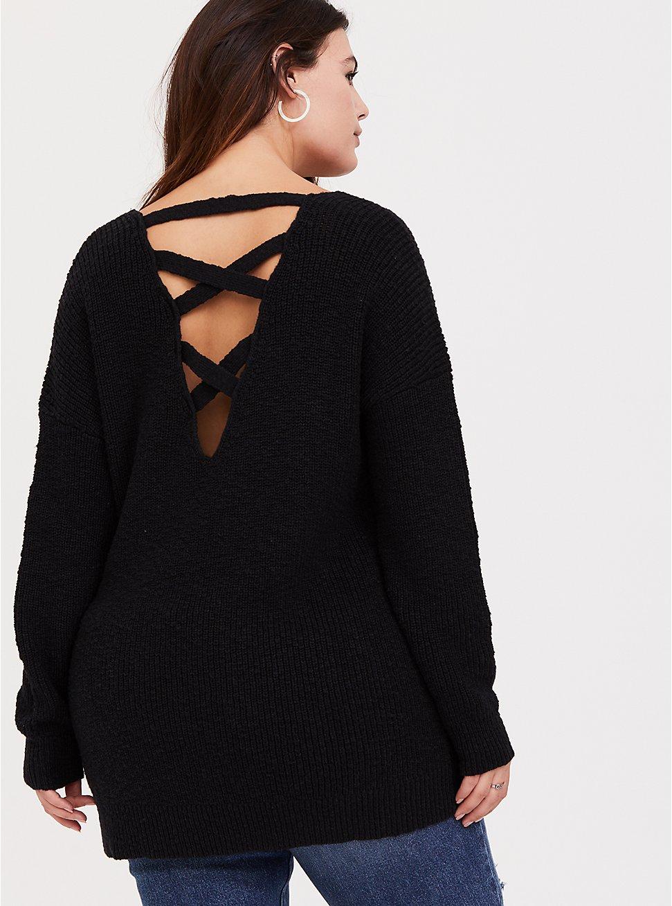 Black Crisscross Back Tunic Sweater, DEEP BLACK, hi-res