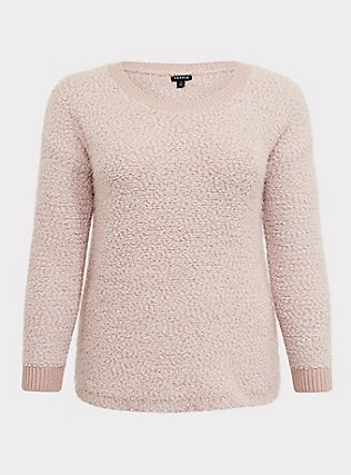 Tan Popcorn Fuzzy Teddy Sweater, MUSHROOM, flat