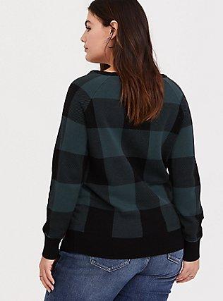 Green & Black Jacquard Plaid Pullover Sweater, PLAID, alternate