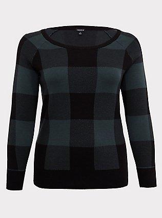 Green & Black Jacquard Plaid Pullover Sweater, PLAID, flat