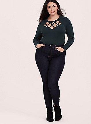 Dark Green Sweater-Knit Lattice Long Sleeve Top, GREEN GABLES, alternate