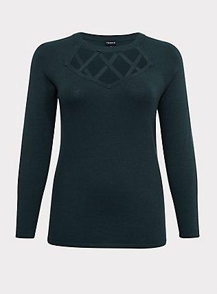 Dark Green Sweater-Knit Lattice Long Sleeve Top, GREEN GABLES, flat