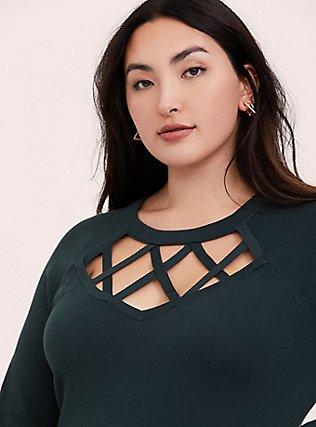 Dark Green Sweater-Knit Lattice Long Sleeve Top, GREEN GABLES, hi-res