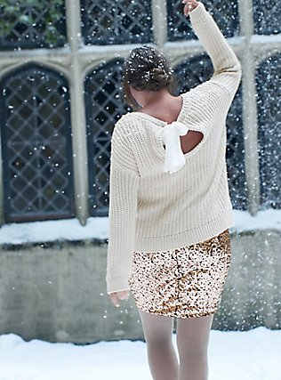 Ivory Cable Knit Back Self-Tie Keyhole Sweater, IVORY, pdped