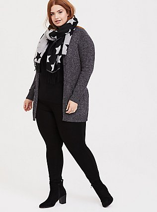 Dark Grey Marled Knitted Open Front Cardigan, GREY, alternate