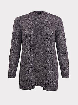 Dark Grey Marled Knitted Open Front Cardigan, GREY, flat