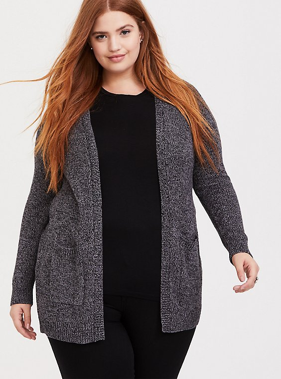 Dark Grey Marled Knitted Open Front Cardigan, , hi-res