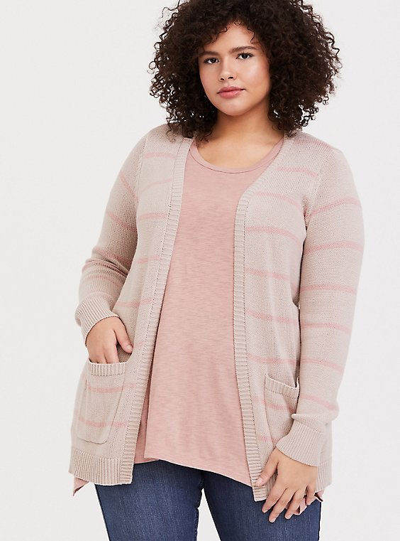 Plus Size Pink Stripe Open Front Cardigan, , hi-res