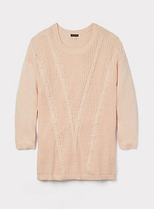 Blush Pink Cable Knit Faux Pearl Sweater, LIGHT PINK, pdped
