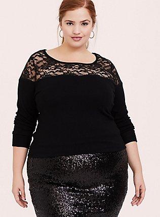 Black Sweater-Knit & Lace Yoke Top, DEEP BLACK, alternate