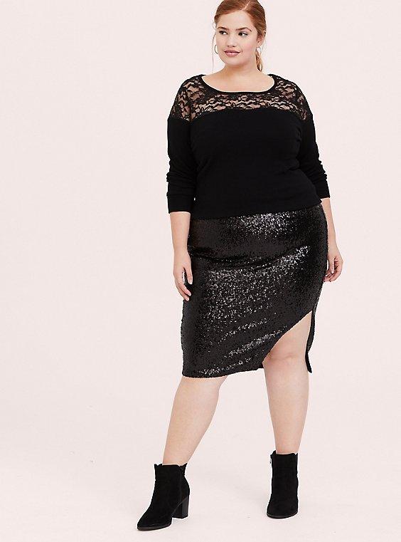 Plus Size Black Sweater-Knit & Lace Yoke Top, , hi-res