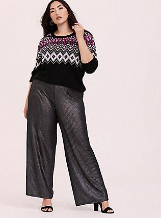 Black & Hot Pink Fair Isle Sweater, DEEP BLACK, alternate