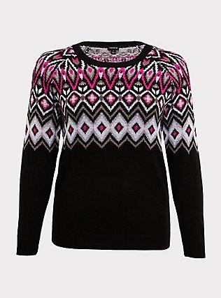 Black & Hot Pink Fair Isle Sweater, DEEP BLACK, flat