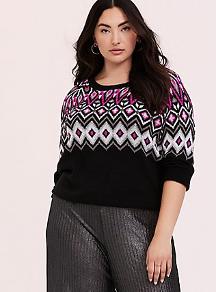 Black & Hot Pink Fair Isle Sweater, DEEP BLACK, hi-res