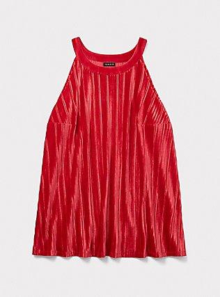 Red Velvet Pleated Goddess Tank, JESTER RED, pdped