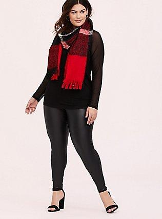 Super Soft Black Mesh Long Sleeve Top, DEEP BLACK, alternate