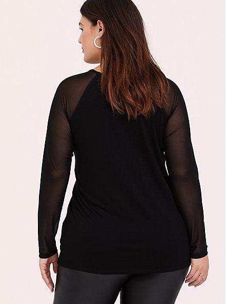 Plus Size Super Soft Black Mesh Long Sleeve Top, DEEP BLACK, alternate