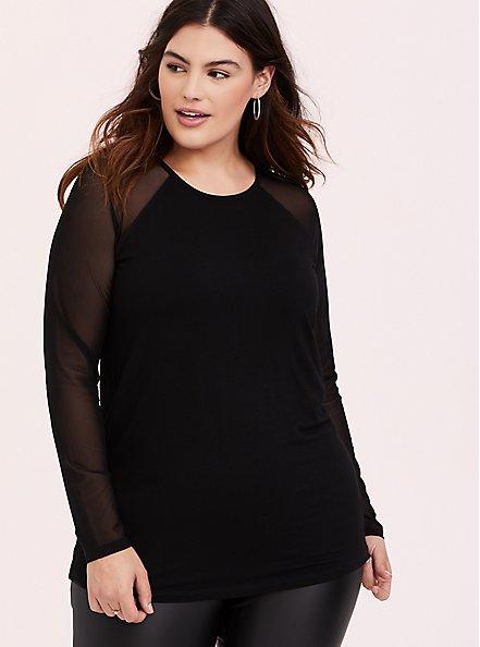 Plus Size Super Soft Black Mesh Long Sleeve Top, DEEP BLACK, hi-res