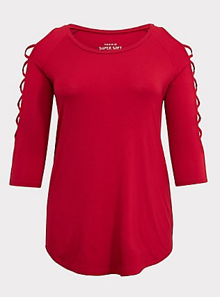 Super Soft Red Lattice Sleeve Tee, JESTER RED, flat