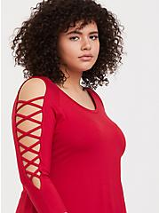 Super Soft Red Lattice Sleeve Tee, JESTER RED, hi-res