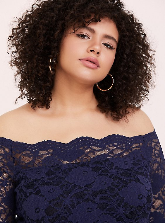 Navy Lace Off Shoulder Top, , hi-res