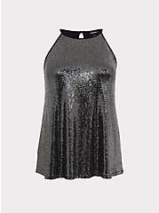 Black & Silver Sequin Halter Top, SILVER, hi-res