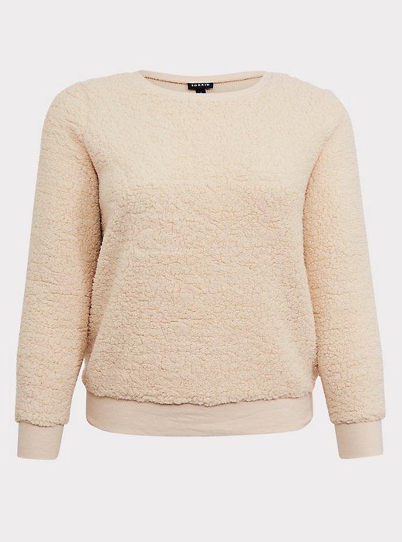 Ivory Faux Fur Teddy Sweatshirt, , flat