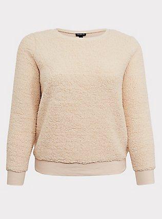 Plus Size Ivory Faux Sherpa Teddy Sweatshirt, NATURAL IVORY, flat