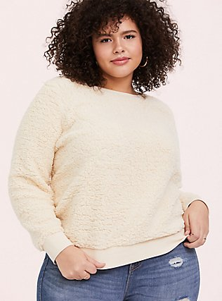 Plus Size Ivory Faux Sherpa Teddy Sweatshirt, NATURAL IVORY, hi-res