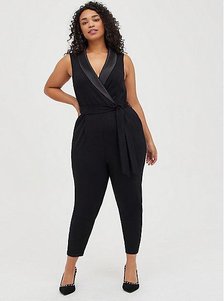 Black Sleeveless Tuxedo Jumpsuit, DEEP BLACK, alternate