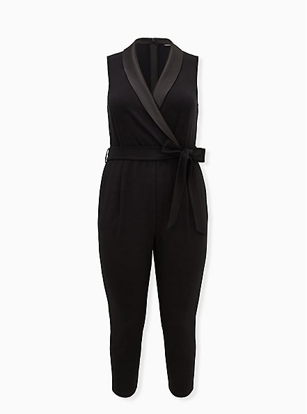 Black Sleeveless Tuxedo Jumpsuit, DEEP BLACK, hi-res