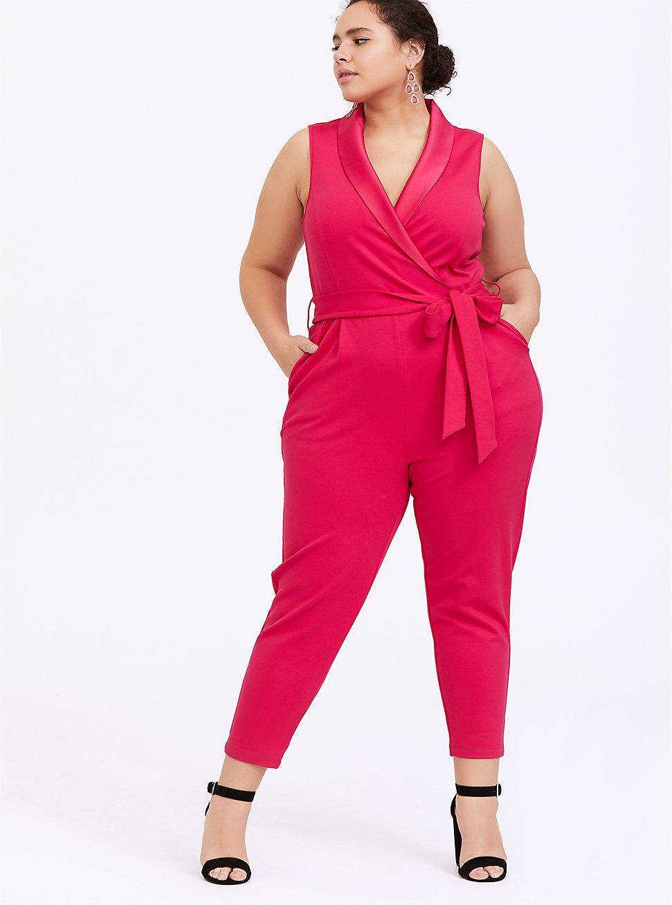 Raspberry Pink Sleeveless Tuxedo Jumpsuit