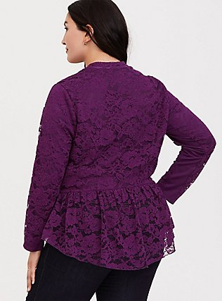 Purple Lace Peplum Crop Military Jacket, DARK PURPLE, alternate