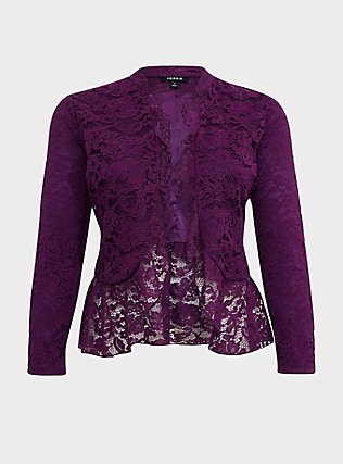Purple Lace Peplum Crop Military Jacket, DARK PURPLE, flat