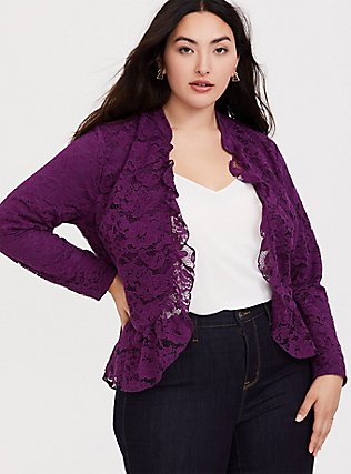 Purple Lace Peplum Crop Military Jacket, DARK PURPLE, hi-res