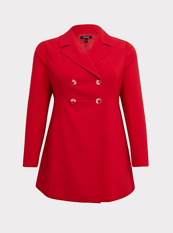 Plus Size Red Twill Fit & Flare Trench Coat, , flat