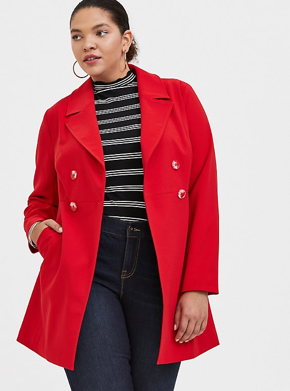 Red Twill Double-Breasted Fit & Flare Coat, , hi-res