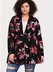 Black Floral Twill Fit & Flare Coat, , alternate