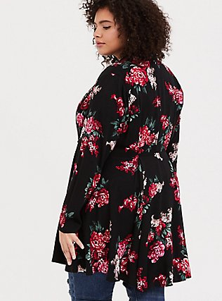 Black Floral Twill Fit & Flare Coat, , alternate