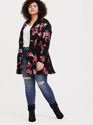 Black Floral Twill Fit & Flare Coat, , hi-res
