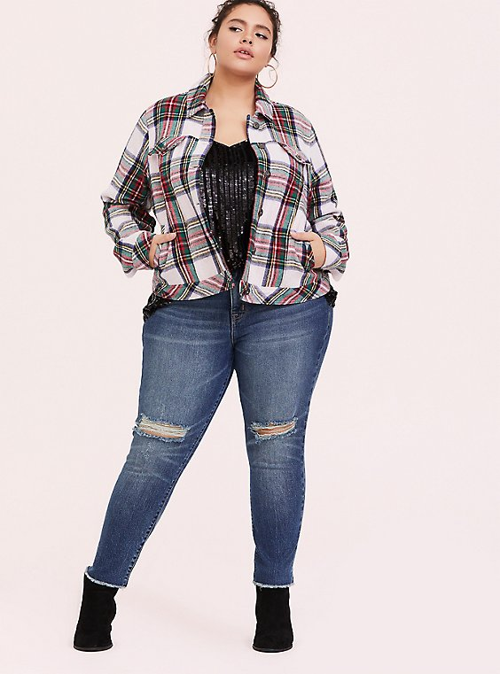 Green & Red Plaid Crop Trucker Jacket, , hi-res